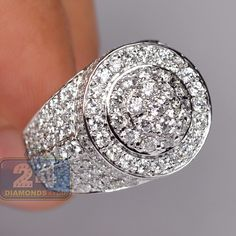 Mens Round Shape Diamond Signet Ring 14K White Gold 4.68 Carat