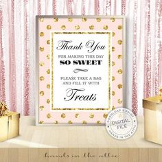 Gold Party Decorations, Bachelorette Party Decorations, Bridal Shower Signs, Gold Bridal Showers, Wedding Favours Sign, Wedding Signs, Wedding Reception, Reception Signs, Pink Und Gold