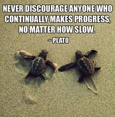 Never discourage anyone who continually makes progress, no matter how slow. -Plato Quote #quote #quotes #quoteoftheday