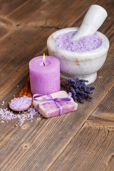 Lavender Photos Lavender items on wooden board by Grafvision photography Scented Sachets, Pillar Candles, Birthday Candles, Lavender, Health, Creative, Photography, Board, Photos