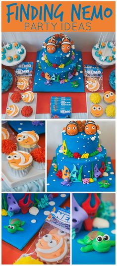 An amazing Finding Nemo themed boy first birthday party with a colorful cake and fun treats! See more party planning ideas Boy First Birthday, Boy Birthday Parties, Birthday Ideas, Baby Boy Birthday Themes, First Birthdays, Party Ideas, Fun Ideas, Finding Nemo Cake, Finding Dory