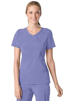Infinity by Cherokee solid mock wrap scrub top in Ceil | Scrubs and Beyond