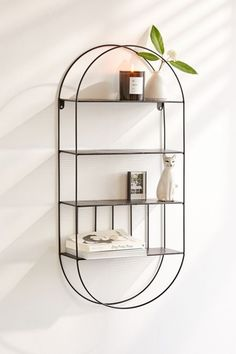Gold Etagere With Glass Shelves Refferal: 3168897635 Circle Wall Shelf, Wood Wall Shelf, Wall Mounted Shelves, Wood Shelves, Glass Shelves, Floating Shelves, Bathroom Shelves, Open Bathroom, Furniture Repair