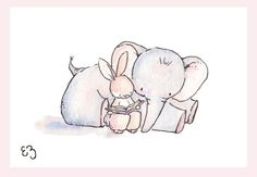 Items similar to Children Art Print. Bunny and Elephant Reading. PRINT Nursery Art Home Decor on Etsy Cartoon Elephant, Cute Elephant, Nursery Prints, Nursery Art, Art Wall Kids, Art For Kids, Wall Art, Animal Drawings, Cute Drawings