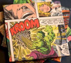Upcycled Hulk comic coasters