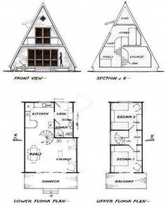 A-frame cottage plans for a guest house/ temp house house conversion house ideas house interior house interior floor plans house interior small house plans Tiny House Cabin, Tiny House Plans, Tiny House Design, Cabin Homes, A Frame Cabin Plans, Cabin Floor Plans, A Frame Floor Plans, Cabin House Plans, Cabin Kits