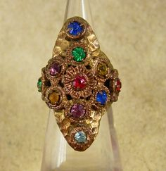 Antique Czech LARGE Ring Rhinestone RING Red by vintagesparkles, $95.00