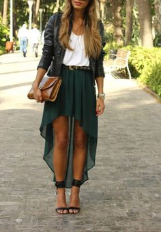 never would have thought a short leather jacket would look so lovely with a high to low skirt = love!