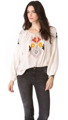 Love Sam Beaded Ikat Top from @Shopbop