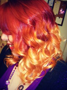 My hair... Ombre, red/strawberry blonde