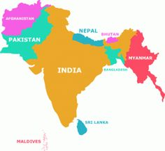 South Asia Maps Countries Capitals Provinces Editable