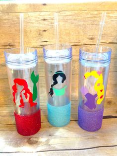 Disney Pick your Princess choppy Inspired Tumbler, Straw Cup, Double wall tumbler, Personalized jasmine belle cinderella ariel elsa rapunzel
