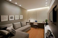 sala- com- home- office 14 Study Room Design, Small Room Design, Design Art, Home Office Design, Home Office Decor, Home Decor, Room Interior, Interior Design Living Room, Design Bedroom