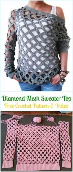 Crochet Diamond Mesh Sweater Top Free Pattern - Crochet Women Sweater Pullover Top Free Patterns