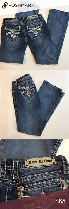 Rock Revival $164 Retail Etta Boot Jeans Purchased at Buckle. In good preowned condition. $164.00 original price. No holes, stains, etc.  32 inch inseam length. Rock Revival Jeans Boot Cut