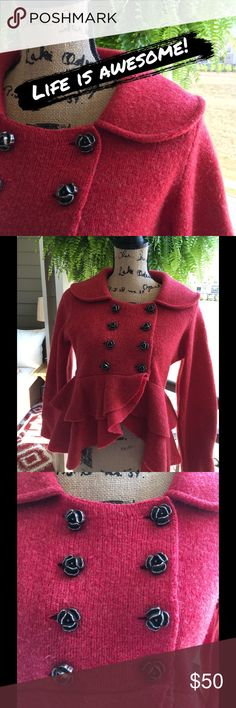 Anthropologie Charlie and Robin Beautiful red wool sweater with gun metal rose buttons. Ruffles and bow....❣️ one small hole shown in pic 6. Can be mended if you sew.  Some piling. Anthropologie Sweaters