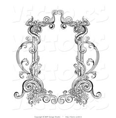 High Resolution Royalty Free Vector Graphic Of Old Black And White Victorian Blank Text Box Frame This Stock Image Was Designed Digitally