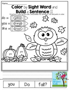 Color by Sight Word and Build a Sentence II - Use the color code and color the owl (sight words: do, you, like) Build a Sentence by unscramble the words using some of the sight words. Cut, paste and copy the sentence.
