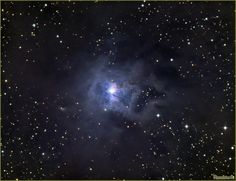 The Iris Nebula, also NGC 7023 and Caldwell 4, is a bright reflection nebula and Caldwell object in the constellation Cepheus. NGC 7023 is actually the cluster within the nebula, LBN 487, and the nebula is lit by a magnitude +7 star, SAO 19158. It shines at magnitude +6.8. It is located near the Mira-type variable star T Cephei, and near the bright magnitude +3.23 variable star Beta Cephei (Alphirk). It lies 1,300 light-years away and is six light-years across.