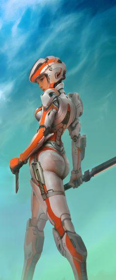 Rogue Class - OverDrive Gear by Bryan Flynn on ArtStation. Cyberpunk, Character Concept, Character Art, Concept Art, Heroine Marvel, Medieval Combat, Soldado Universal, Sci Fi Kunst, Sci Fi Armor