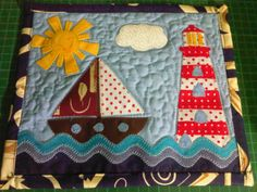 """Ingrid """"Sewing and Patchwork"""" Congratulations to the parents in their day! Using the Nautical Mug Rug Pattern."""