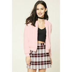 Forever21 Faux Fur Bomber Jacket (1,600 INR) ❤ liked on Polyvore featuring outerwear, jackets, faux fur jacket, blouson jacket, forever 21 jackets, flight jacket and pink bomber jacket