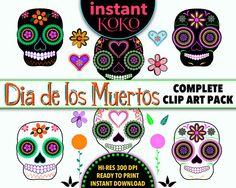 Day of the Dead Sugar Skulls Clip Art  Dia de los by InstantKoKo, $5.00