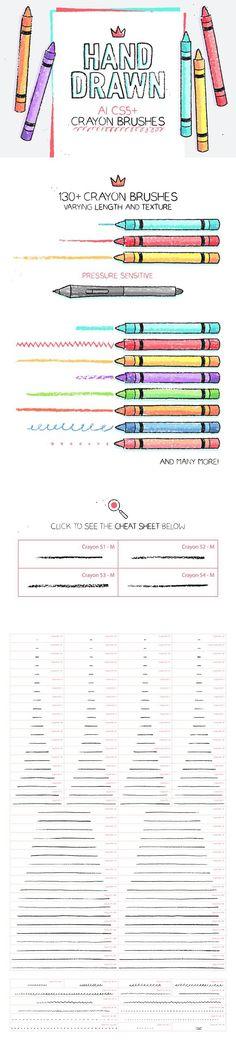 134 Illustrator Crayon Brushes. Photoshop Brushes