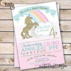 Unicorn Magical Party Invitation Unicorn Birthday Pastel Gold Customizable 5x7 Printable Rainbow Unicorn Pink Girl Birthday