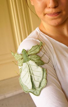 Leaf Insect Leaf Bug Brooch Green Moire by BlueTerracotta on Etsy