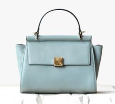 Fashionable Pale Blue Soft Blue Leather Tote. Genuine Leather