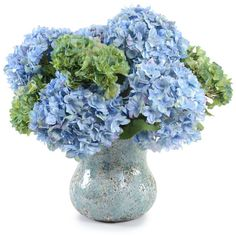 New Growth Designs Blue And Green Hydrangea Faux Flower Arrangement found on Polyvore