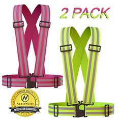 Reflective Vest (2 Pack) | Lightweight, Adjustable & Elastic | Safety & High Visibility for Running, Jogging, Walking, Cycling | Fits over ANY Outdoor Clothing | Green and Pink 2 Pack