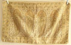 Pottery Barn RETIRED Paisley Yellow Gold Embroidered Lumbar Throw Pillow Sham #PotteryBarn