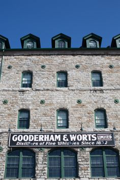 The old Gooderham and Worts Whisky building Flat Iron, Distillery, Cellar, Whisky, Toronto, Boston, Old Things, Logos, Building