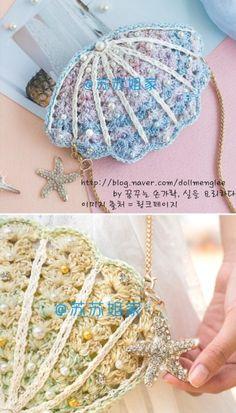 손뜨개 조개 클러치, 가리비 파우치 : 네이버 블로그 Crochet Clutch, Crochet Handbags, Crochet Motif, Crochet Top, Crochet Earrings, Crochet Hats, Clutch Purse, Pouch, Knitting