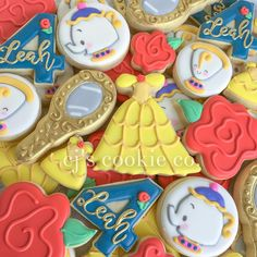 "266 Likes, 9 Comments - CJ's Cookie Co. (@cjscookieco) on Instagram: ""Beauty and the Beast inspired for Leah'a 4th! #decoratedcookies #sugarcookies #sugarart…"""