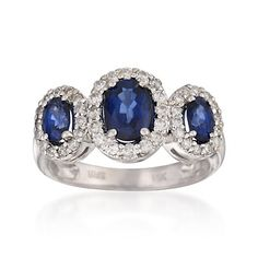 1.60 ct. t.w. Sapphire and .25 ct. t.w. Diamond Ring  in 14kt White Gold (www.rosssimons.com only) $ 1,121.25