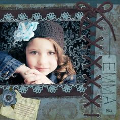 Sweet Girl's Scrapping Page...with laced up shoe string edging.