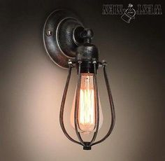 Westmenlights Vintage Industrial Wall Lamp Sconce Metal Squirrel Cage 1 Light SQUIL