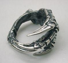 Raben Sie Klaue Ring in Sterlingsilber, Rabenkrähe