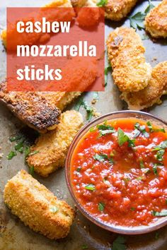 Creamy cashew cheese is breaded, pan-fried to golden, crispy deliciousness, and served with zesty marinara sauce to make these mouth-watering vegan mozzarella sticks. This delicious dairy-free appetizer is perfect for gatherings or everyday snacking! Vegan Cashew Cheese, Vegan Cheese Recipes, Delicious Vegan Recipes, Vegan Snacks, Vegetable Recipes, Vegetarian Recipes, Cheese Food, Cheese Plates, Veggie Meals