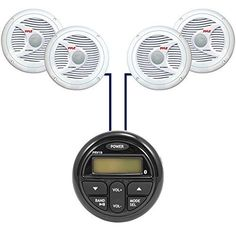 """New Milennia PRV19 Bluetooth Marine Boat Yacht Gauge Style AM/FM 4 x 40W Stereo Player w/ Rear USB Input With 4 X 6.5"""" Inch Marine Waterproof Speakers - Marine Audio Kit (White). Package Includes: 1 Stereo 4 X Speakers. PRV19 Gauge Style AM/FM/BT 4 x 40W Stereo w/Rear USB InputFeatures:AM/FM4 x 40 wattsAux InputUSB InputAll-weather faceplateUV StableFits a standard tachometer openingBluetooth Audio Streaming Color Black Auxiliary Input Yes. 6.5 Dual Cone Full Range speakers, Completely..."""