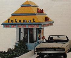 Fotomat.  My aunt worked at a Fotomat booth for a while, and I felt so cool when I got to go inside.