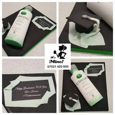 A green, white and black graduation cake made into a Ciroc bottle by It's Mine Cakes