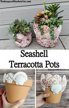 Seashell Art, Seashell Crafts, Beach Crafts, Summer Crafts, Crafts With Seashells, Clay Pot Projects, Seashell Projects, Clay Pot Crafts, Diy Arts And Crafts