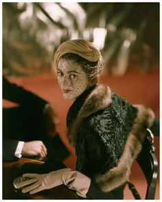 Carmen Dell'Orefice Modeling Lambskin Wrap Photo John Rawlings 1948 Condé Nast Archive/CORBIS