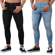 Mens Cheap Low Rise Jeans Skinny Slim Ripped Black Blue Distressed Jeans for Men #Unbranded #SlimSkinny