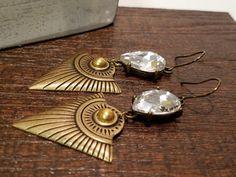 Antiqued Metal Earrings - Clear Rhinestone - Aztec Inspired - Handmade - Boho Chic - Bohemian