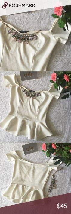 Sale! Just in! Foreign Exchange peplum top This off-shoulder white peplum crop top is perfect for spring and summer nights out.  great condition, no holes/stains/damage. Foreign Exchange Tops Crop Tops